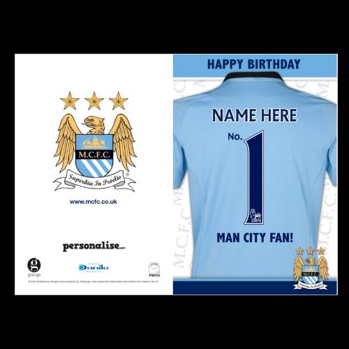 Manchester City Birthday Card - No 1 Fan - Standard Size